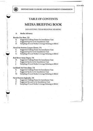 Primary view of object titled '103-06A-RH13 - Media Briefing Book Regional Hearing - 7 -11-05 - San Antonio, TX part 1'.