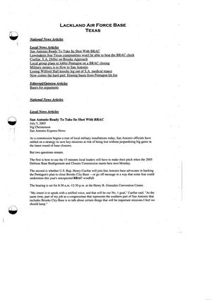 Primary view of object titled '103-06A-RH13 - Media Briefing Book Regional Hearing - 7 -11-05 - San Antonio, TX part 2'.