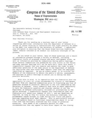Primary view of object titled 'Letter from Congressman Solomon P. Ortiz to Chairman Anthony J. Principi dtd 14 July 2005'.