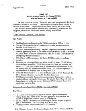 Primary view of object titled 'Technical Cross-Service Group - Meeting Minutes of August 19, 2004'.