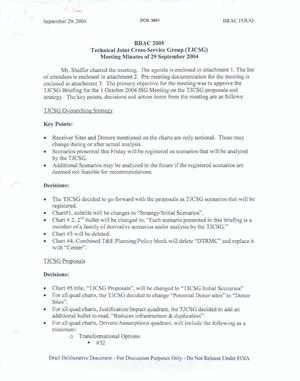 Primary view of object titled 'Technical Cross-Service Group - Meeting Minutes of September 29, 2004.'.
