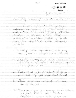 Primary view of object titled '[Letters from Sharon Sutton - June-July 2005]'.
