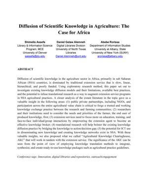 Primary view of object titled 'Diffusion of Scientific Knowledge in Agriculture: The Case for Africa'.