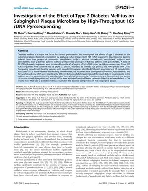 Primary view of object titled 'Investigation of the Effect of Type 2 Diabetes Mellitus on Subgingival Plaque Microbiota by High-Throughput 16S rDNA Pyrosequencing'.