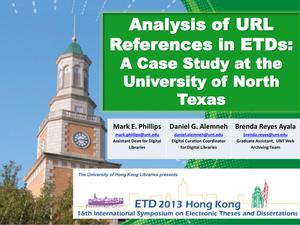 Primary view of object titled 'Analysis of URL References in ETDs: A Case Study at the University of North Texas [Presentation]'.