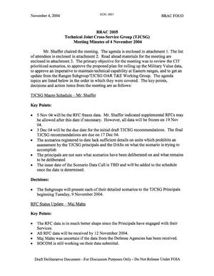 Primary view of object titled 'Technical Cross-Service Group - Meeting Minutes of November 4, 2004.'.