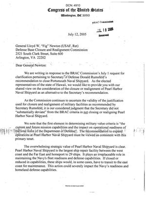 Primary view of object titled 'Letter from Hawaii Senate and House of Representatives members to Commissioner Newton dtd 12 July 2005'.