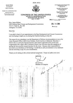 Primary view of object titled 'Letter from Congressman David Price to Commissioner Bilbray dtd 15 July 2005'.