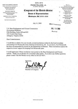 Primary view of object titled 'Letter from New Jersey Congressman Frank Pallone to the BRAC Commission dtd 11 July 2005'.