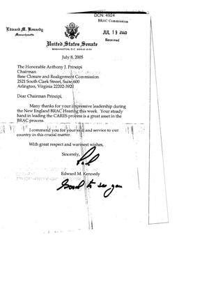 Primary view of object titled 'Letters form Senator Edward M. Kennedy to each of the BRAC Commissioners dtd 8 July 2005'.