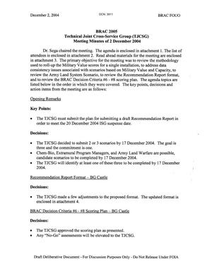 Primary view of object titled 'Technical Cross-Service Group - Meeting Minutes of December 2, 2004'.