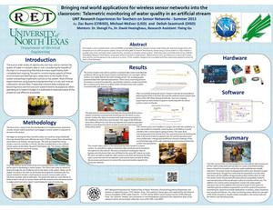 Primary view of object titled 'Bringing real world applications for wireless sensor networks into the classroom: Telemetric monitoring of water quality in an artificial stream [2013: Poster]'.