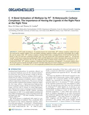 Primary view of object titled 'C H Bond Activation of Methane by Ptᴵᴵ N-Heterocyclic Carbene Complexes: The Importance of Having the Ligands in the Right Place at the Right Time'.