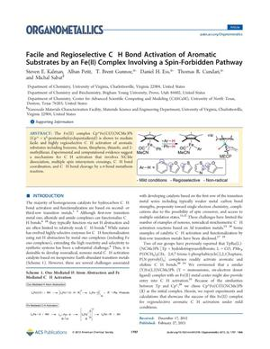 Primary view of object titled 'Facile and Regioselective C H Bond Activation of Aromatic Substrates by an Fe (II) Complex Involving a Spin-Forbidden Pathway'.