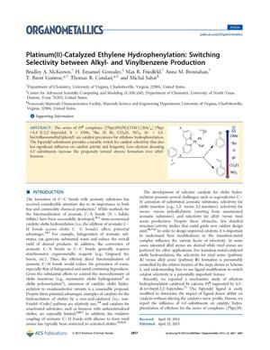 Primary view of object titled 'Platinum(II)-Catalyzed Ethylene Hydrophenylation: Switching Selectivity between Alkyl- and Vinylbenzene Production'.