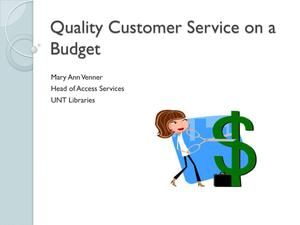 Primary view of object titled 'Quality Customer Service on a Budget'.