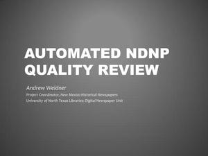 Primary view of object titled 'Automated NDNP Quality Review'.