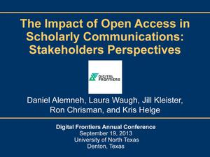 Primary view of object titled 'The Impact of Open Access in Scholarly Communications: Stakeholders Perspectives'.