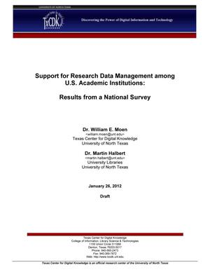 Primary view of object titled 'Support for Research Data Management among U.S. Academic Institutions: Results from a National Survey'.