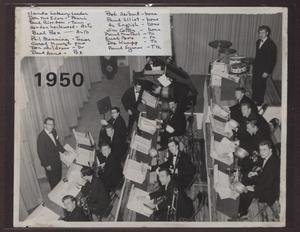 [Photograph of Laboratory Dance Band Preparing Behind a Curtain]