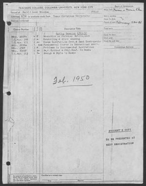 Primary view of object titled '[Leon Breeden's Admission Record to Columbia University's Teachers College]'.