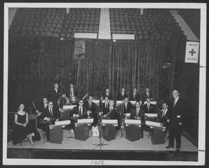 Primary view of object titled '[Photograph of Laboratory Dance Band Posing with Their Instruments]'.