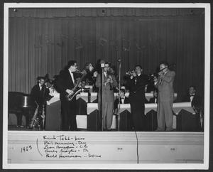 Primary view of object titled '[Photograph of Frank Todd, Phil Manning, Leon Breeden, Curly Broyles, and Bill Harrison Performing]'.