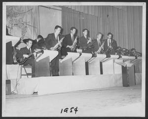 Primary view of object titled '[Photograph of Laboratory Dance Band Performing on Stage]'.