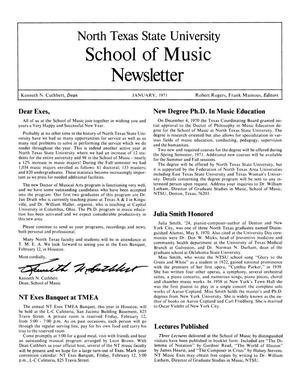 Primary view of object titled 'North Texas State University School of Music Newsletter,  January 1971'.