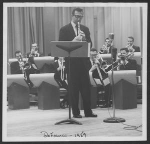 Primary view of object titled '[Photograph of Buddy DeFranco Performing with the Laboratory Dance Band]'.