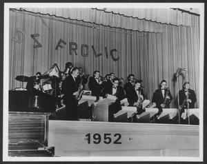 Primary view of object titled '[Photograph of Laboratory Dance Band Performing on a Stage]'.
