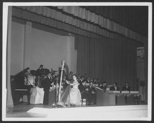 Primary view of object titled '[Photograph of Laboratory Dance Band Performing with a Harpist]'.