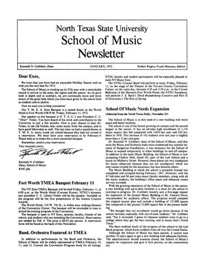 Primary view of object titled 'North Texas State University School of Music Newsletter,  January 1972'.