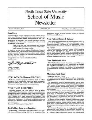 Primary view of object titled 'North Texas State University School of Music Newsletter,  January 1974'.