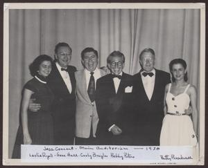 Primary view of object titled '[Photograph of Leslie Ryall, Gene Hall, Curly Broyles, Bobby Peters, and Betty Brockwell on Stage]'.