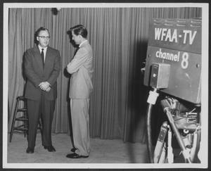 Primary view of object titled '[Photograph of Gene Hall Interview with WFAA-TV Channel 8]'.