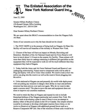 Primary view of object titled 'Letter from Claude P. Imagna to Sen. Hillary Rodham Clinton dtd 22 June 2005'.
