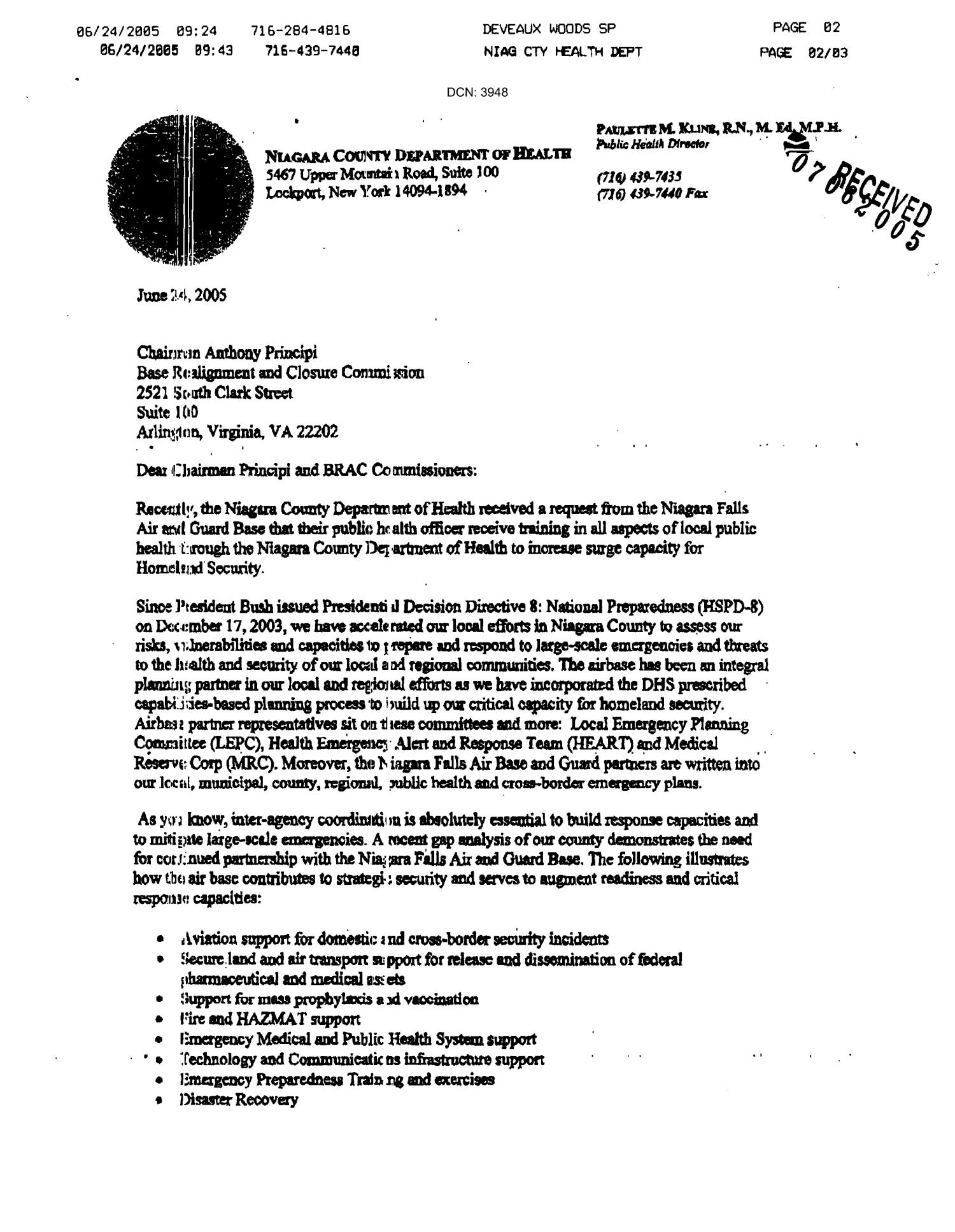 Letter from Niagara County Department of Health to the Commission dtd 24 June                                                                                                      [Sequence #]: 1 of 2