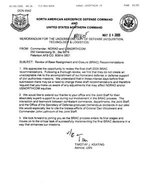Primary view of object titled 'Letter from the Department of Defense Clearinghouse'.