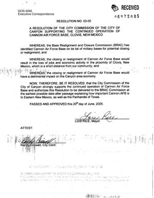 Primary view of object titled 'Executive Correspondence – Resolution dated 06/20/2005 from Lois Rice'.