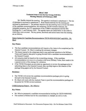 Primary view of object titled 'Technical Cross-Service Group - Meeting Minutes for February 8, 2005'.