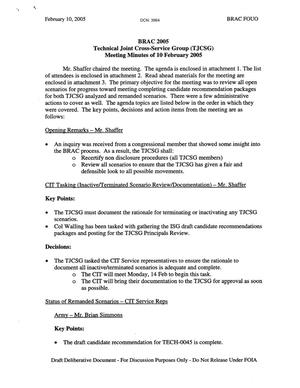 Primary view of object titled 'Technical Cross-Service Group - Meeting Minutes for February 10, 2005'.