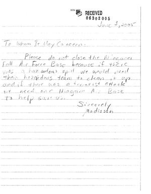 Primary view of object titled 'Letter from Madison (Child) to the Commission dtd 3 June 2005'.