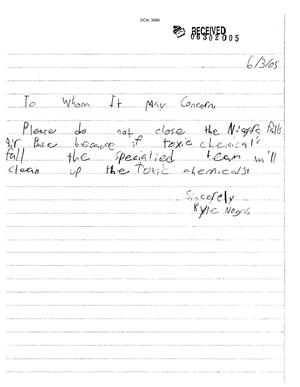 Primary view of object titled 'Letter from Kyle Nogas to the Commission dtd 3 June 2005'.