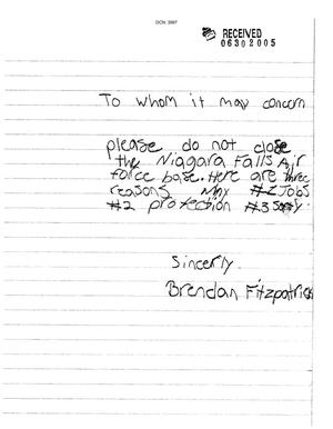Primary view of object titled 'Letter from Brendan Fitzpatrick to the Commission'.