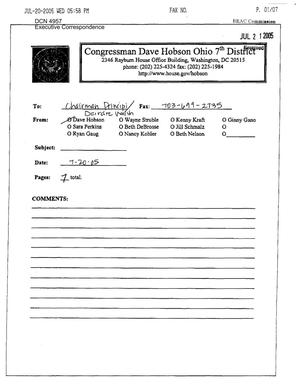 Primary view of object titled 'Executive Correspondence – dtd 07/20/2005 to Chairman Principi from Representatives David Hobson and Mike Turner'.