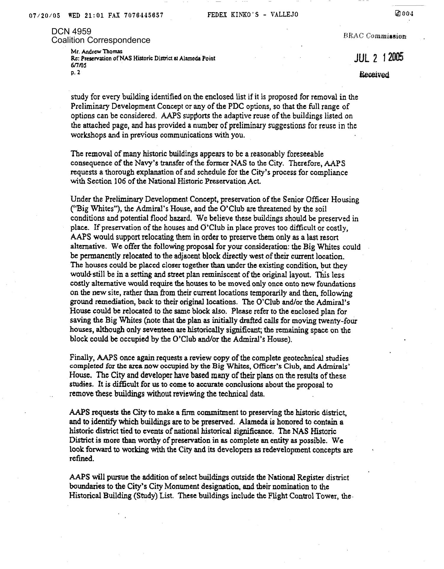Coalition Correspondence – dtd 07/18/2005 to Chairman Principi from James Watson                                                                                                      [Sequence #]: 4 of 10