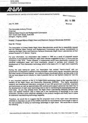Primary view of object titled 'Coalition Correspondence – Letter dtd 07/14/2005 to Chairman Principi from Robert Williams, President (ANVM)'.