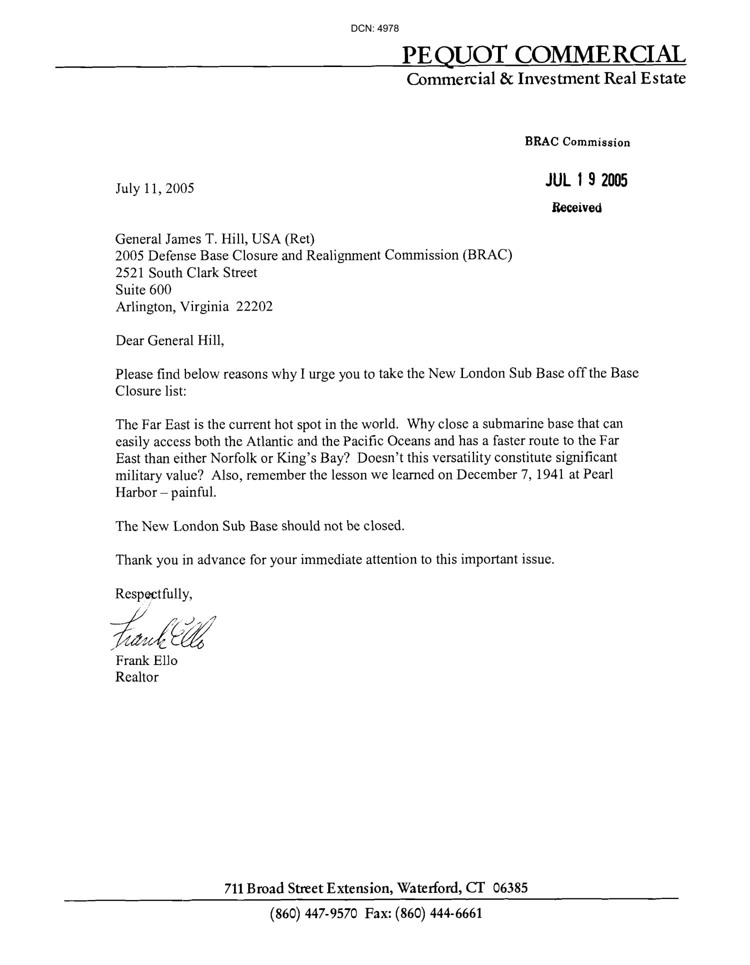 Letters From Individuals Concerning New London Submarine Base                                                                                                      [Sequence #]: 1 of 7