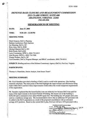 Primary view of object titled '[Memorandum of Meeting: Defense Commissary Agency, Virginia, June 27, 2005]'.